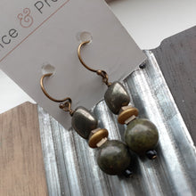 Load image into Gallery viewer, olive green earrings. nice and pretty jewelry