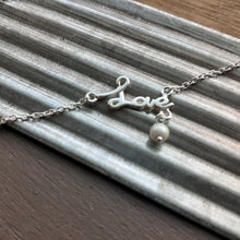 Load image into Gallery viewer, Sterling Silver anklet with love written in silver. Nice and Pretty Jewelry