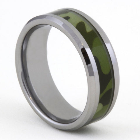 Army Camouflage Tungsten Ring