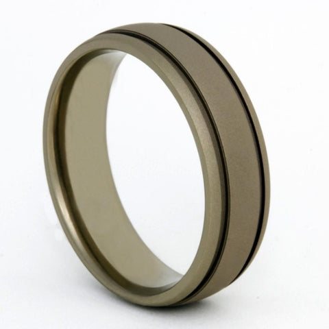 Double Groove Flat Dark Earth Titanium Ring