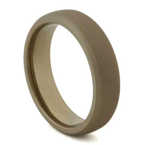 Classic Flat Dark Earth Titanium Ring