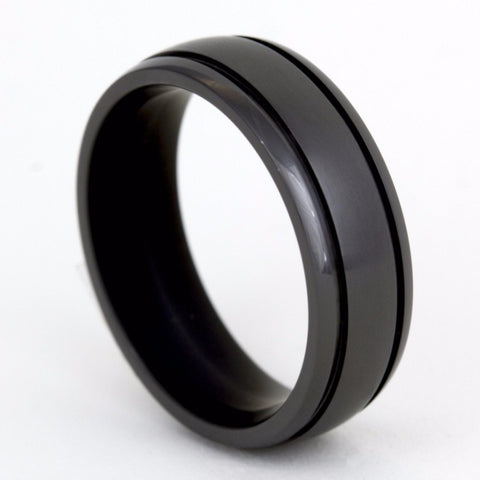 Double Groove Black Chrome Titanium Ring