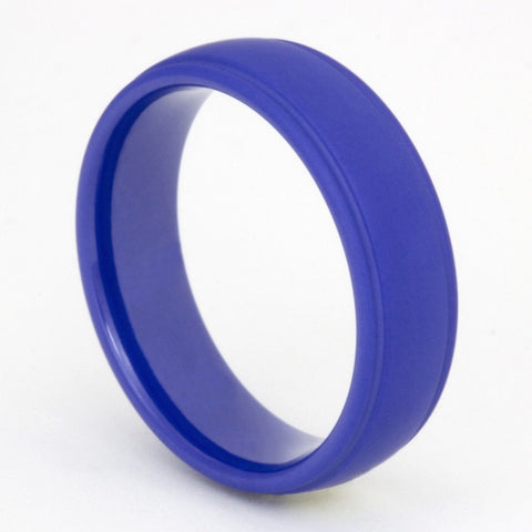 Double Groove Matte Patrol Blue Zirconium Ring