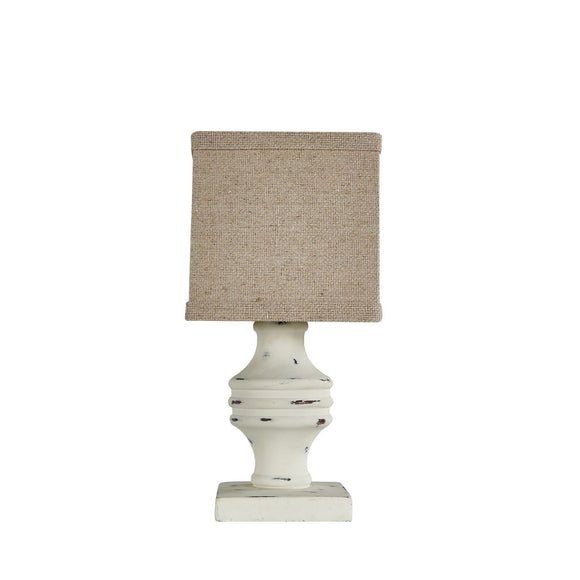 White Distressed Accent Lamp with Neutral Shade