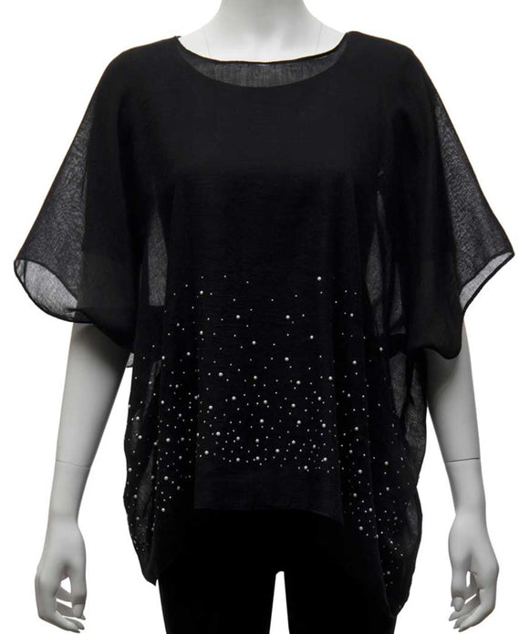 a lightweight black fabric tunic with pearls & sparkles scattered along the bottom half of the tunic.
