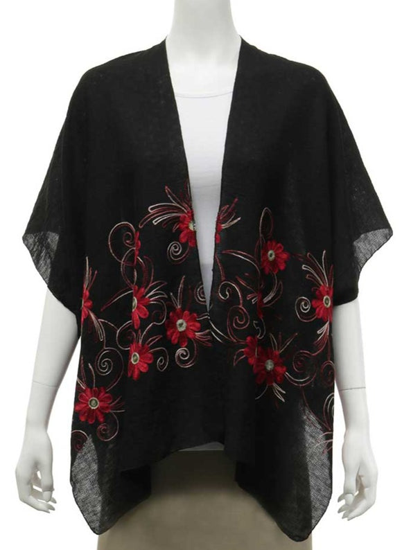 Black Kimono With Red Embroidered Flowers