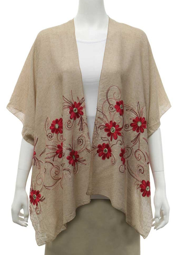 a khaki kimono with red embroidered flowers with shades of pink and burgundy for leaves and stems