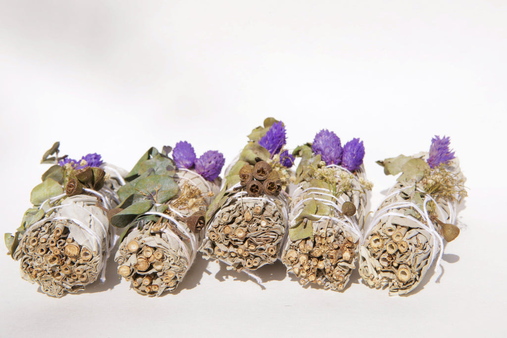 5 White Sage, Lavender & Eucalyptus Dollar Sage Sticks + 5 Palo Santo Sticks (Bulk Smudge Bundle)