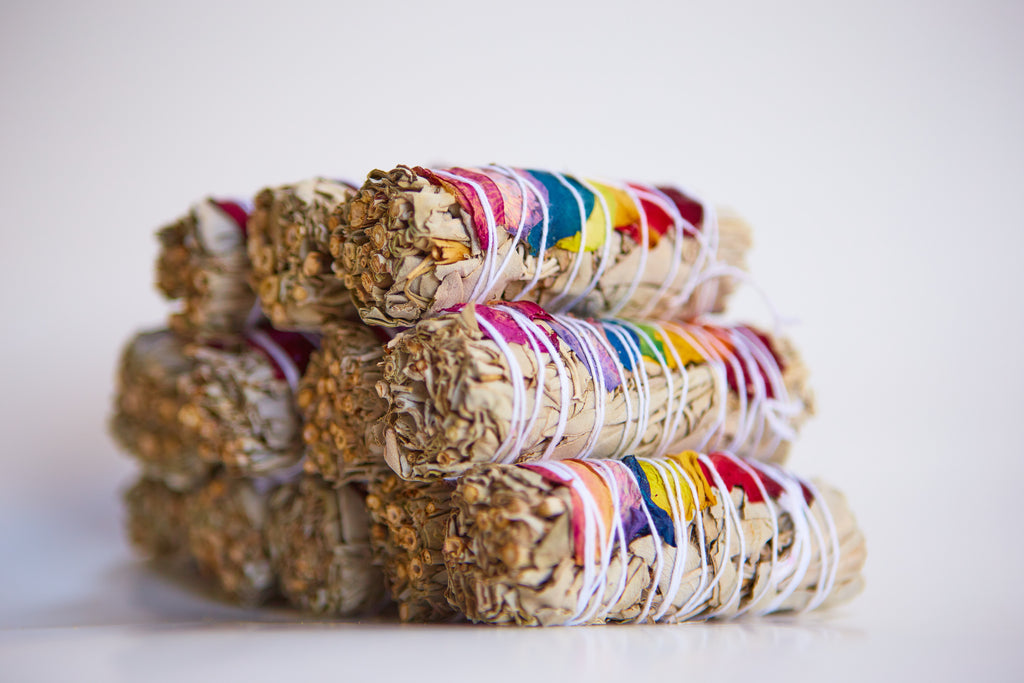 7 Chakra Sage + Palo Santo Wholesale Bundle: 12 Palo Santo Wood & 12 7 Chakra Sage Smudge Sticks