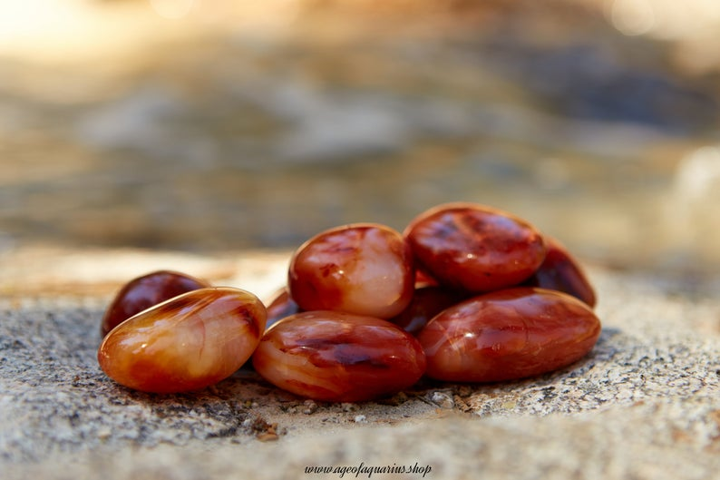 Premium Hand Polished Carnelian Pebbles. 100% High Quality and Free Shipping
