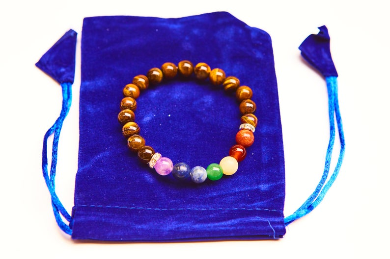Tiger's Eye Chakra Bracelet w/ Velvet Bag. Natural Crystal Healing Jewellery.