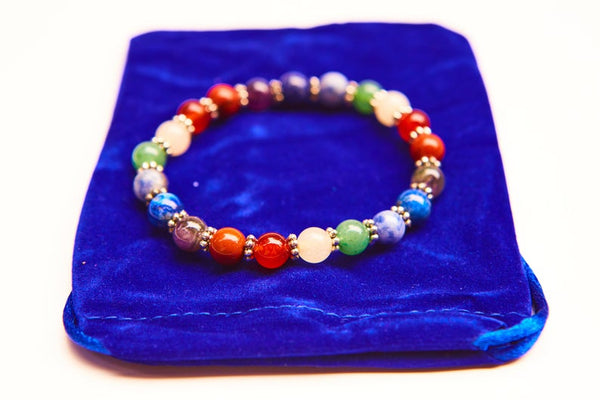 7 Chakra Gemstone Bracelet w/ Velvet Bag. Natural Crystal Healing Jewellery.