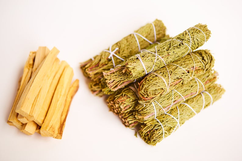 Cedar Smudge Sage + Palo Santo Wholesale Bundle: 10 Palo Santo Wood & 10 Cedar Sage Smudge Sticks (Bulk Smudge Bundle)