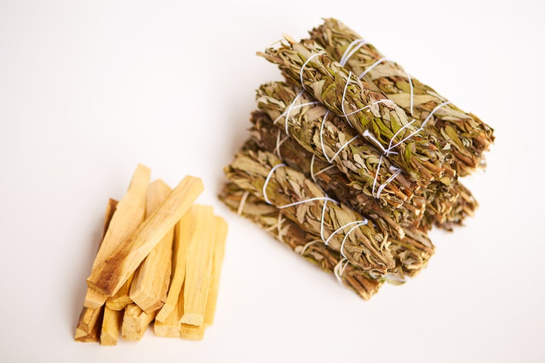 Lavender Smudge Sage + Palo Santo Wholesale Bundle: 10 Palo Santo Wood & 10 Lavender Sage Smudge Sticks (Bulk Smudge Bundle)