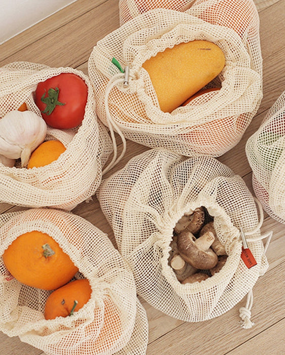 Lot de 3 sacs filet à provisions 100% coton