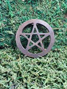 "This lovely 4"" tile is made from wood and stained dark, and serves very well as the representation of the pentacle on your altar."