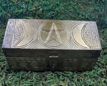 Load image into Gallery viewer, Triple Moon Carved Metal Box