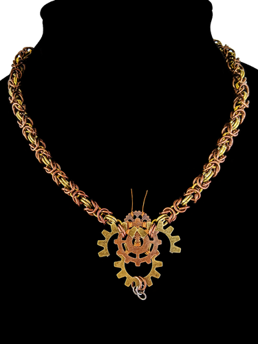 Show your love for our most important pollinator with our steampunk bee necklace! Made from brass and copper, this hand made necklace is woven in the Byzantine pattern with a hand crafted bee made of gears and wire.