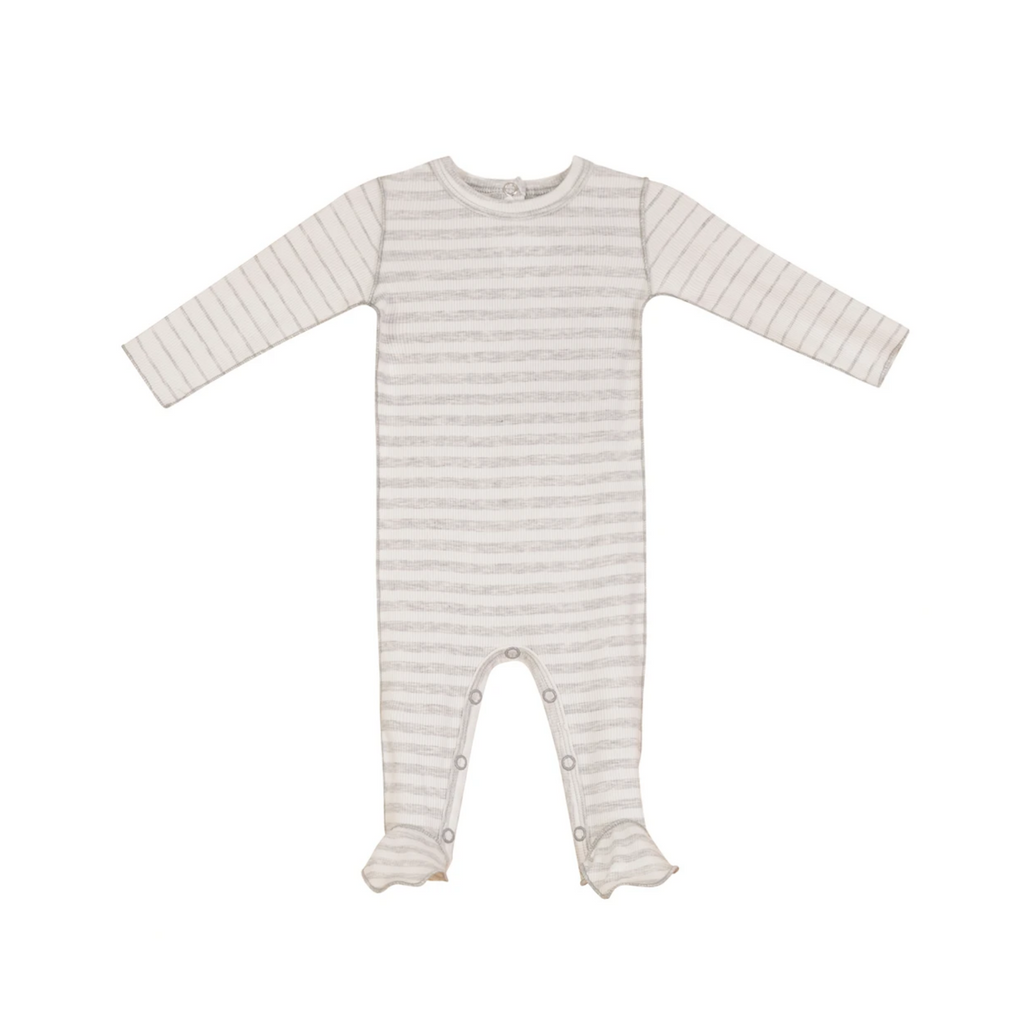 BRB Striped Rib Footie - Grey