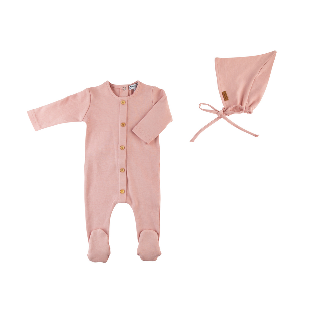 Cream Bebe Wooden Button Footie With Hat - Mauve