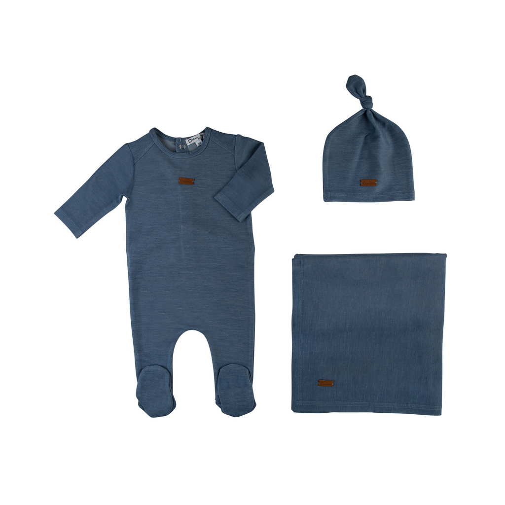 Cream Bebe Soft Jean Take Me Home Set - Denim - 3M