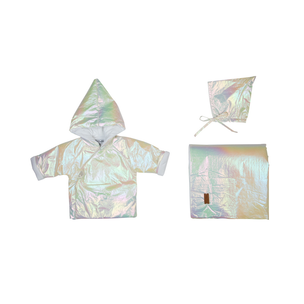 Cream Bebe Jacket Metallic Set 3Pc - White/Metalic
