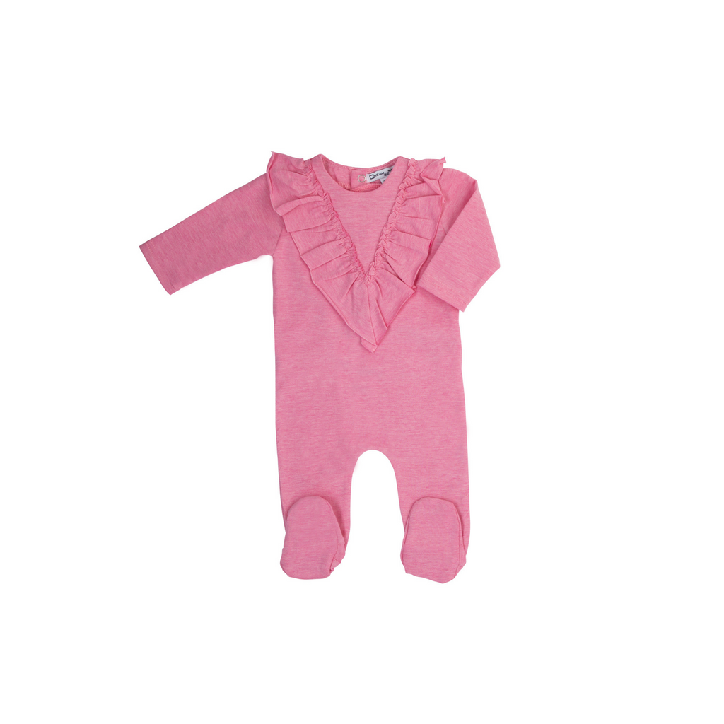 Cream Bebe Pointy Ruffle Footie - Pink - 6M