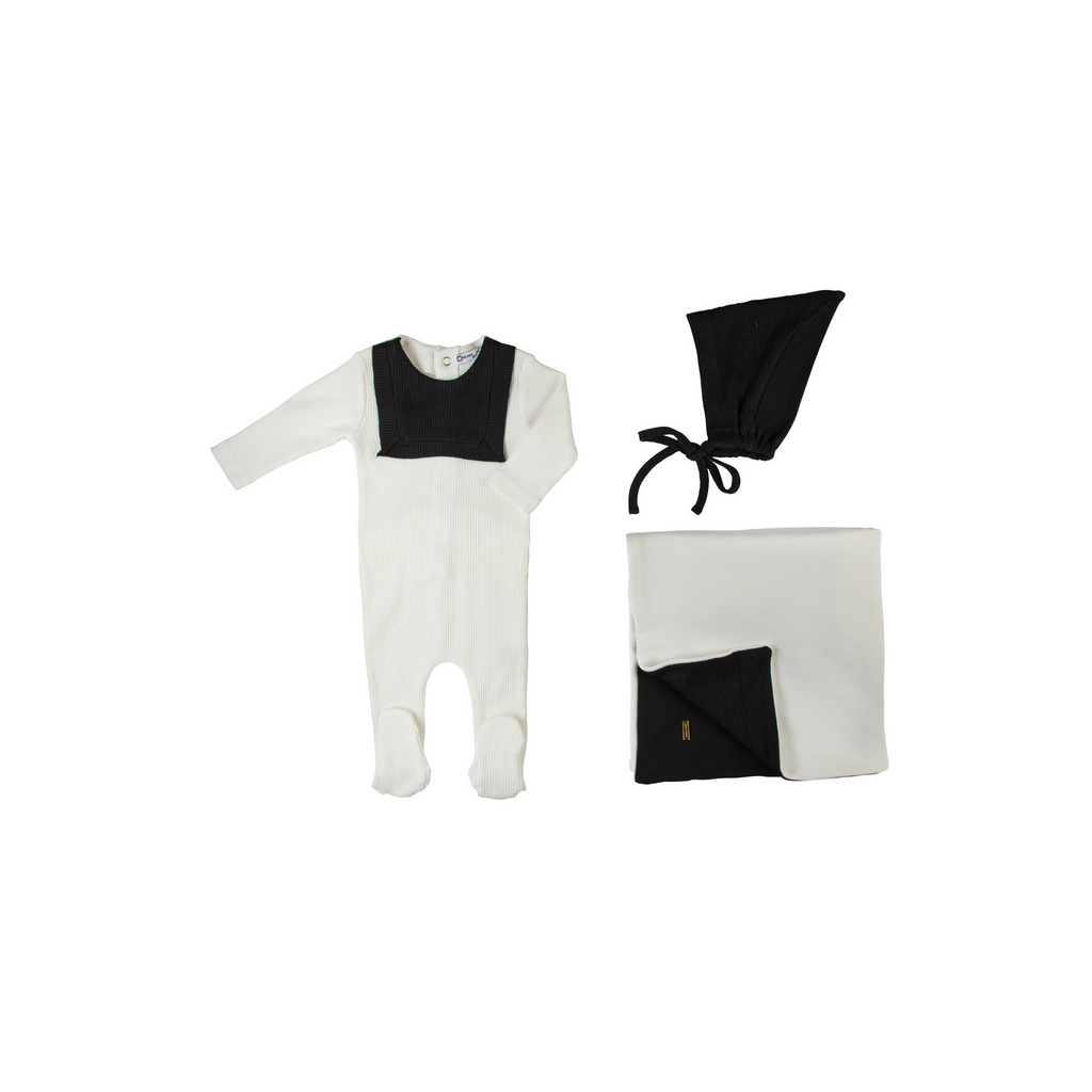 Cream Bebe Ribbed Bib Take Me Home Set - White - 3M