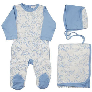 Chant De Joie Paisley Print Knit Take Me Home Set - BLUE