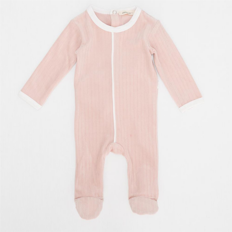 Fragile Black Stripe Ribbed Footie - BABY PINK