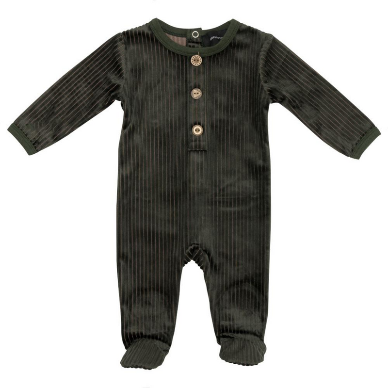 Fragile Ribbed Velour Wooden Button Footie - OLIVE