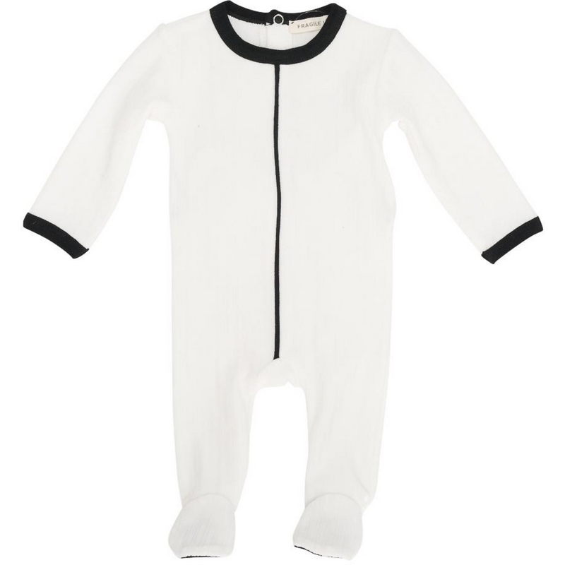 Fragile Black Stripe Ribbed Footie - IVORY