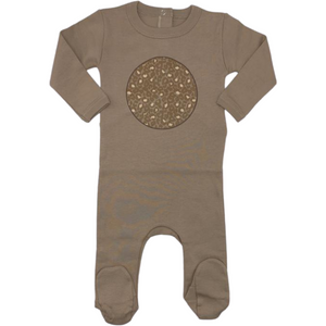 Coton Pompom Leopard Circle Footie - BROWN/SAND