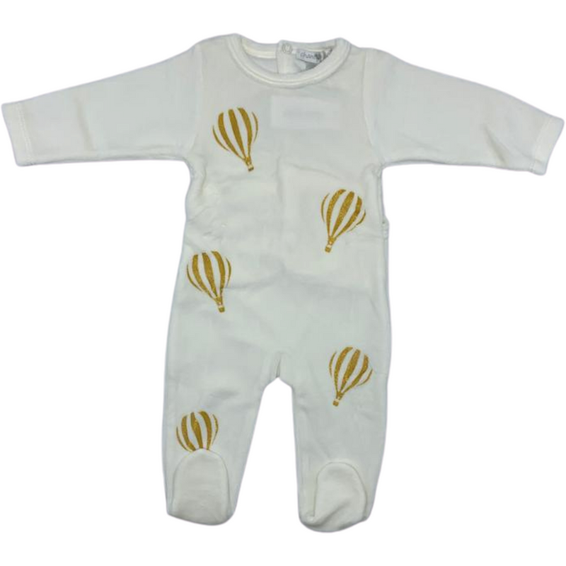 Chant De Joie Velour Hot Air Balloon  Footie - IVORY/GOLD