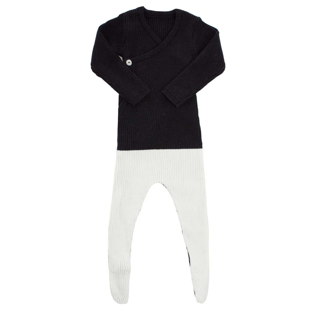 Kipp Colorblock Knit Wrap One Piece - BLACK