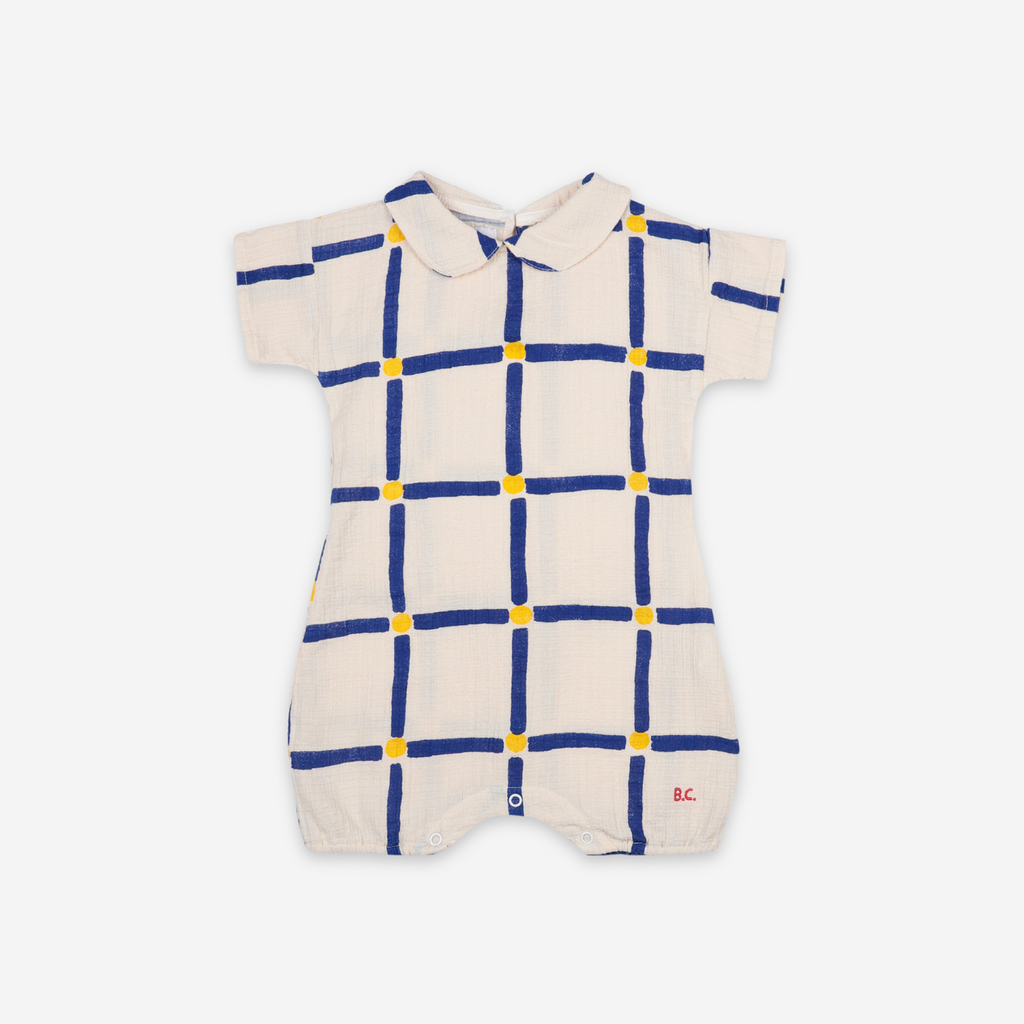 Bobo Choses Cube All Over Woven Playsuit - Sand/Blue