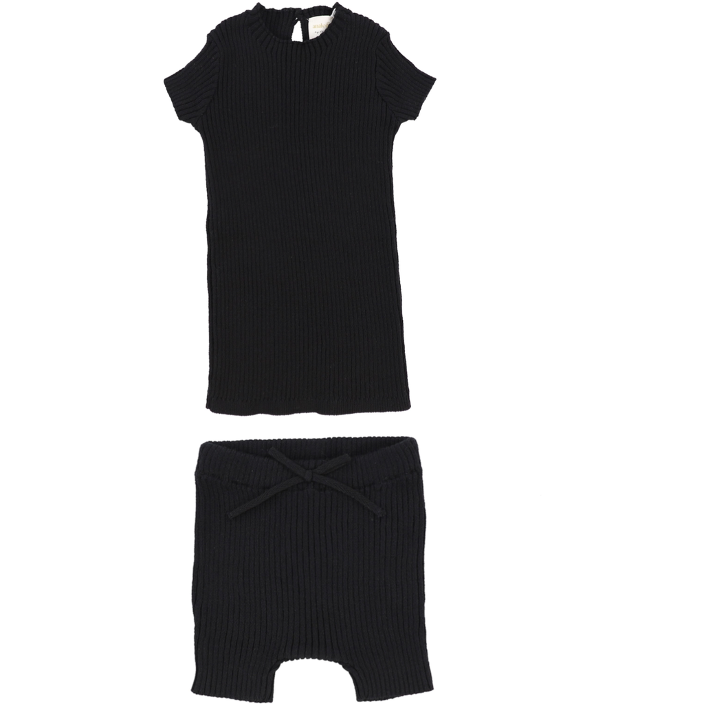 Lil Leggs Knit Short 2Pc Set - BLACK