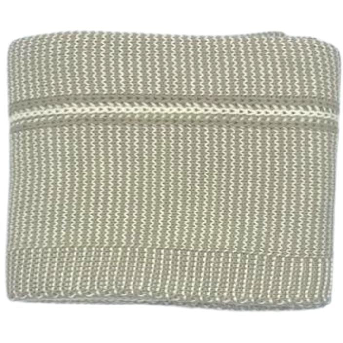 Spool Fine Knits Luxe Knit Blanket - ECRU & NATURAL - OS