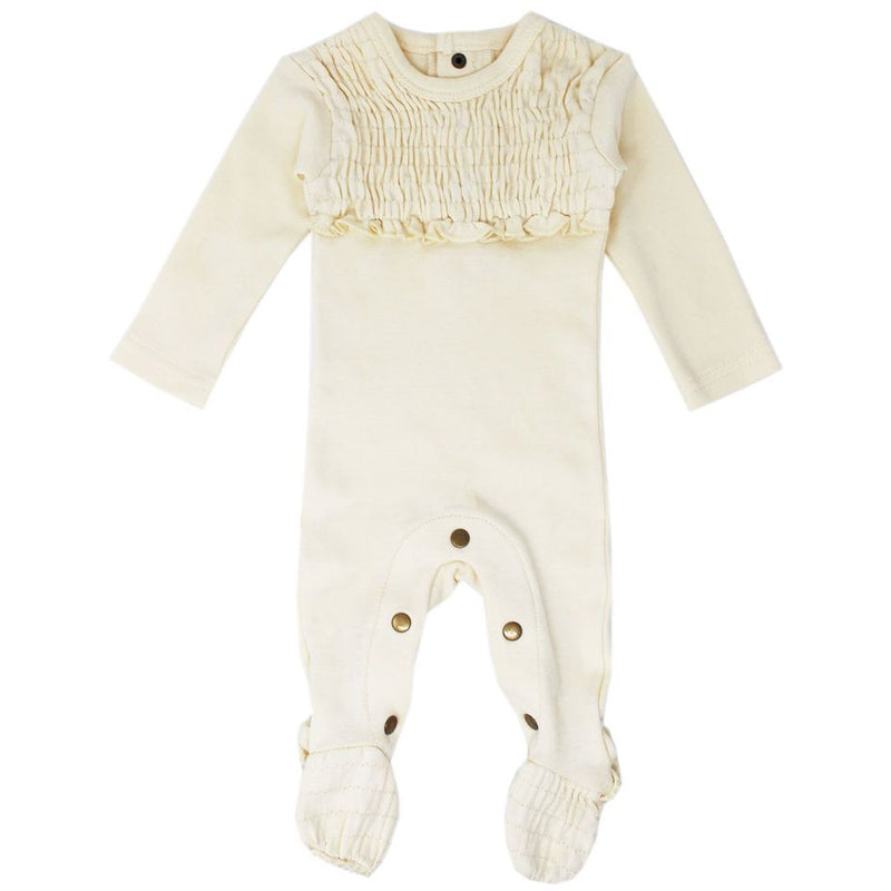Loved Baby Smocked Footie - BEIGE