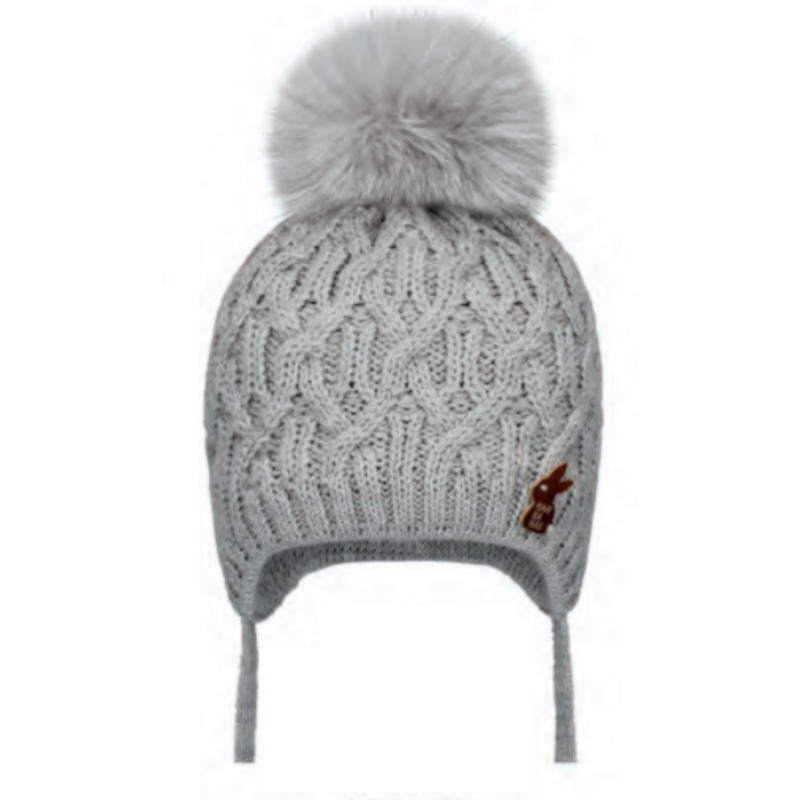 Barbaras Cable Pom Pom Hat - GREY