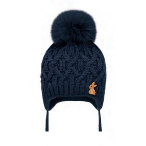 Barbaras Cable Pom Pom Hat - NAVY