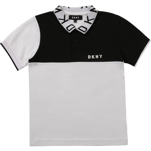 Dkny Boys Ss Polo With Dkny Jacquard On Collar - Black/White
