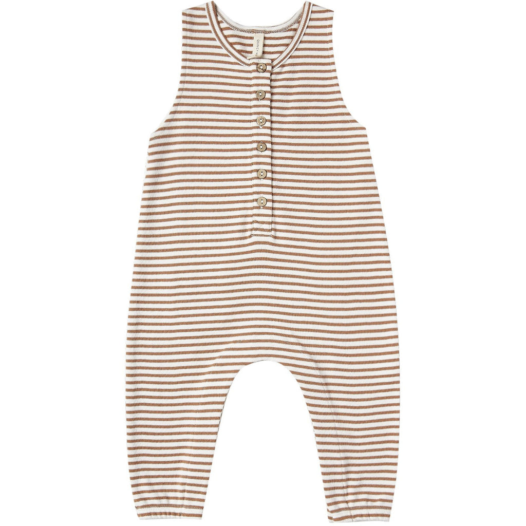 Quincy Mae Sleeveless Jumpsuit -  RUST STRIPE