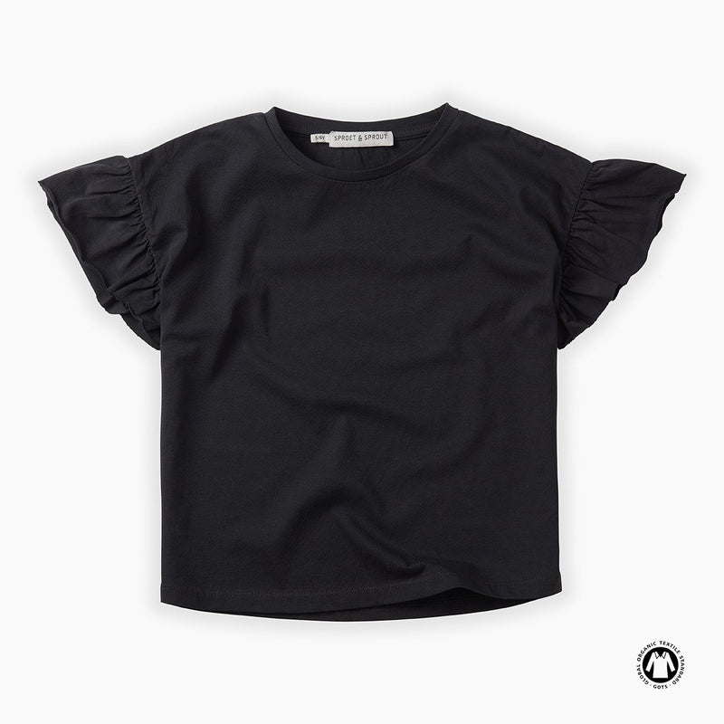 Sproet & Sprout Ruffle T-Shirt - BLACK