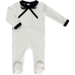 Cuddle & Coo Textured Bow Footie Take Me Home - WHITE