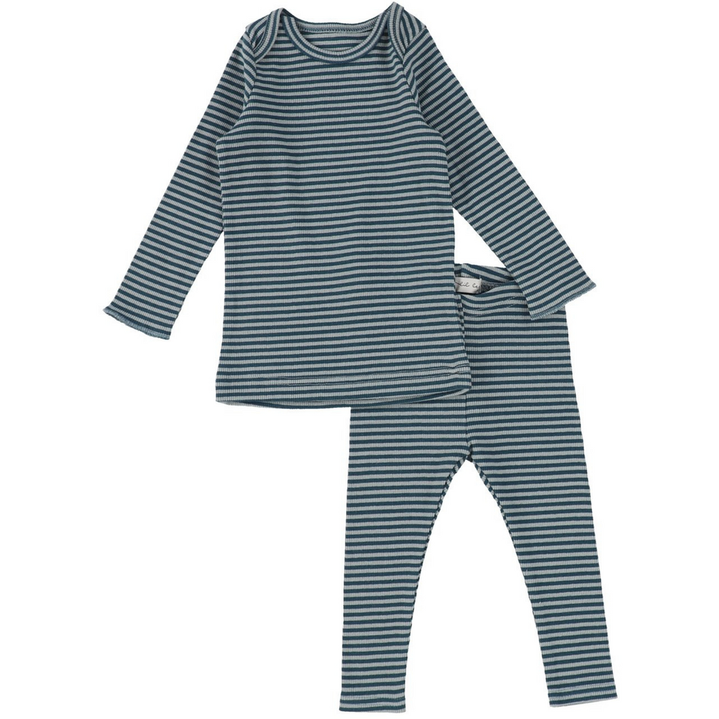 Lil Leggs Rib Striped Set - BLUEBERRY