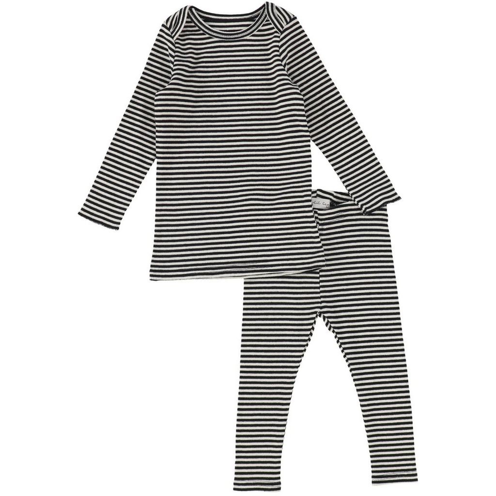 Lil Leggs Rib Striped Set - BLACKBERRY
