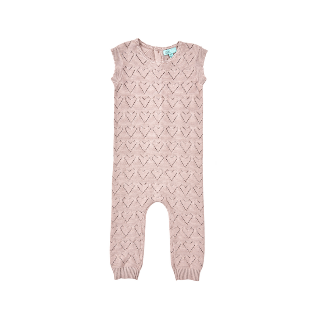 Mini P Pointelle Baby Knit Overall - Mauve