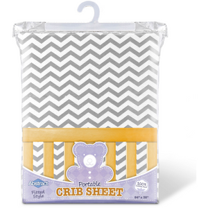 Ghi Imports Portable Crib Sheet Chevron - GREY - PORTA 24X38