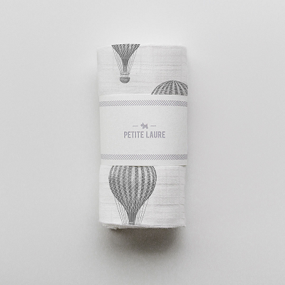 Petite Laure Baby Swaddle Hot Air Balloons - DARK GREY - OS